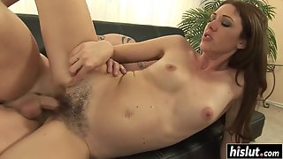 Long hard shaft drills her hairy cunt