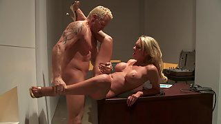 Blonde MILF with big tits get smashed hard in the office