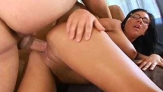 Brunette after Blowjob Dick Riding on That for Orgasm