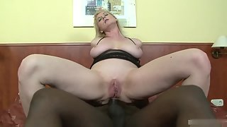 Blonde after Dildoing Fucked Hard by Black Dude Through Asshole