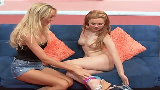 Blonde milf seduces a young girl