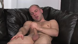 Bald fuck makes his dick bust a nut