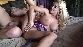 Ample blonde MILF mouth jizzed after wild pounding and oral sex