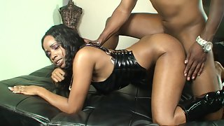 Awesome black slut gets nailed from behind