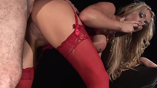 Magnificent lady in red lingerie gets plowed by lucky guy