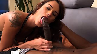 Tattooed Lady Hungrily Sucking Partner Meaty Black Shaft