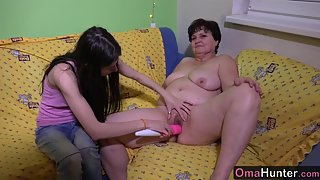 Chubby lesbian granny gets toyed by lusty young girl