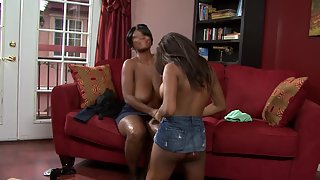 Huge Boobs Ebony Ladies Merged in Black Lesbian Sex